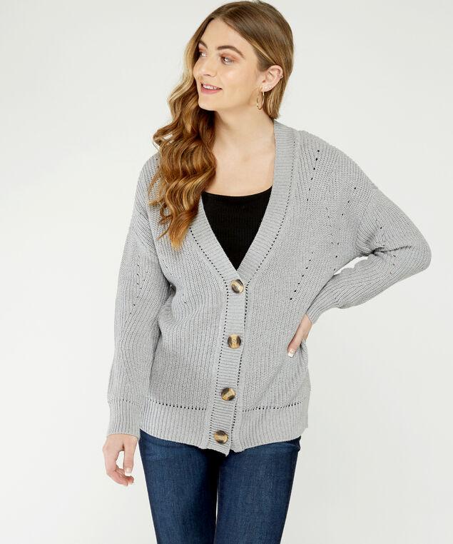 long sleeve cardigan - wb, Dk Grey