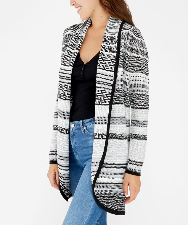 shawl collar cardigan - wb, Black, hi-res