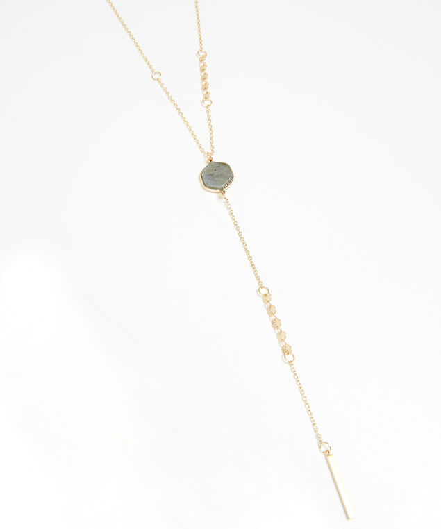 lariat stone necklace, GOLD, hi-res