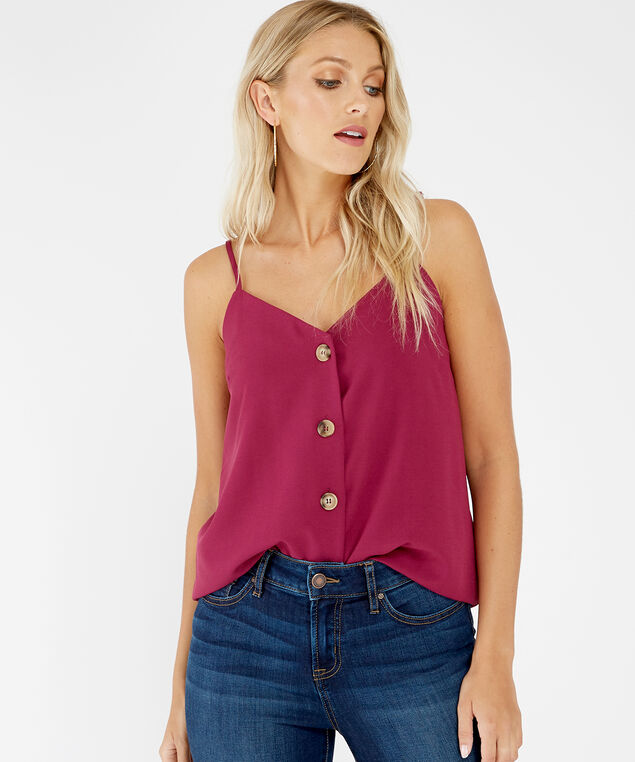 v-neck button down tank - wb, Purple, hi-res