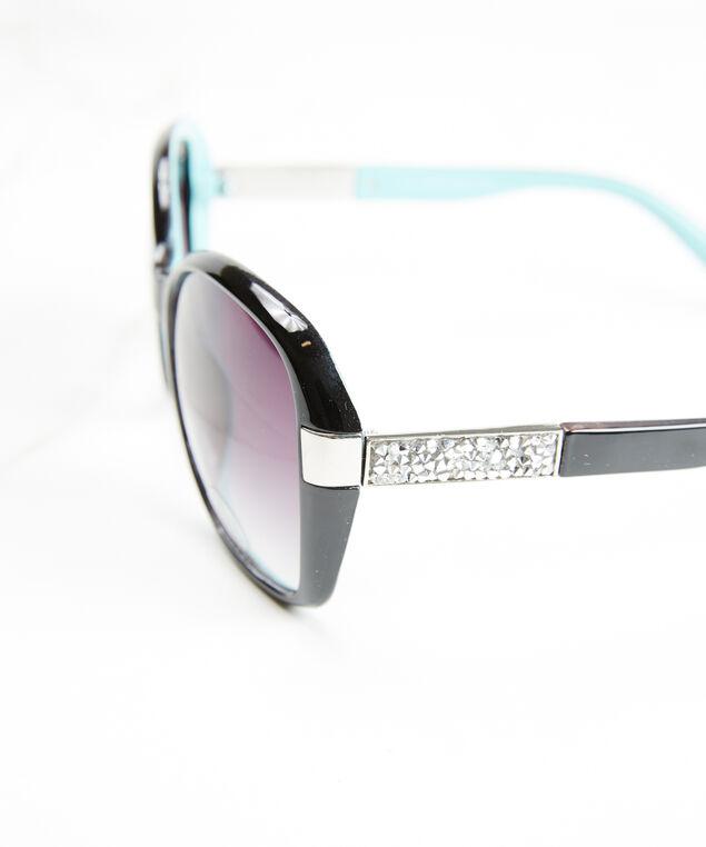 women's round frame sunglasses, Black