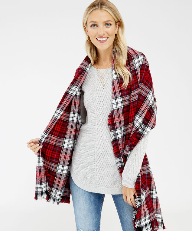 plaid blanket scarf, PLAID, hi-res