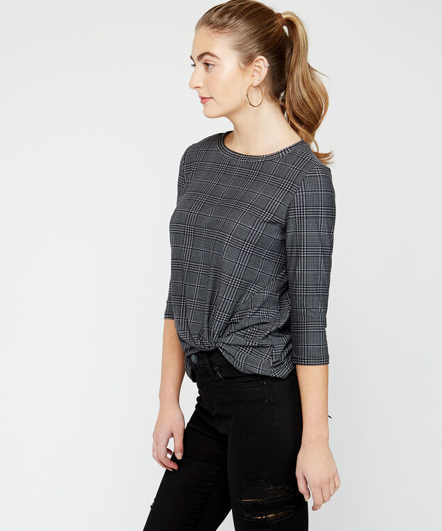 3/4 sleeve knotted top - wb, Plaid, hi-res