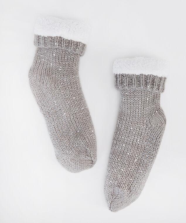 sequin slipper socks, GREY, hi-res
