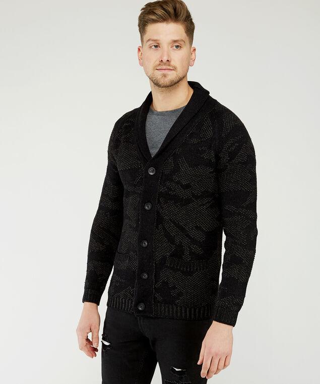 camo shawl cardigan, Black, hi-res