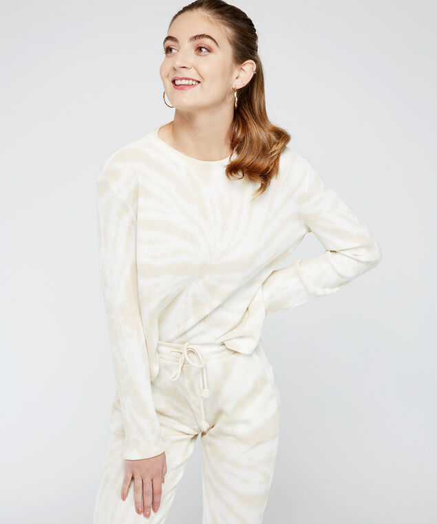 tie dye waffle pullover - wb, White tie dye