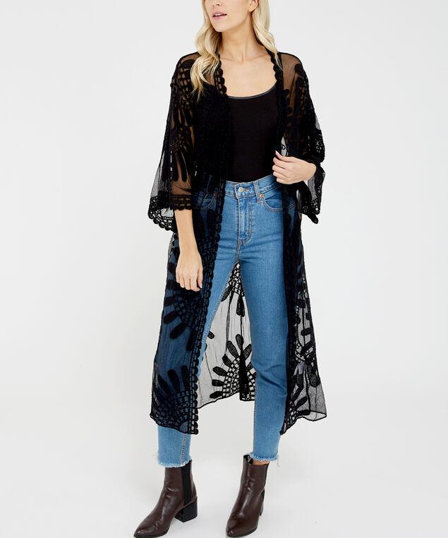 sunflower lace kimono, Black, hi-res