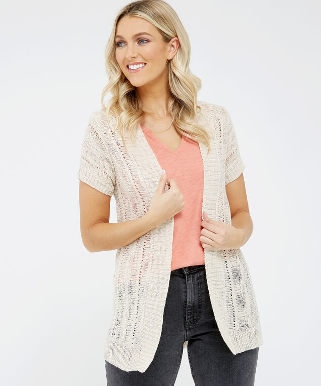 pointelle cardigan - wb, Natural, hi-res
