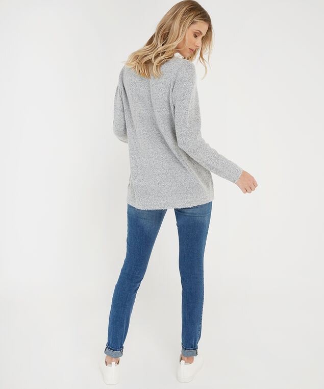 graphic popover sweater - wb, GREY, hi-res
