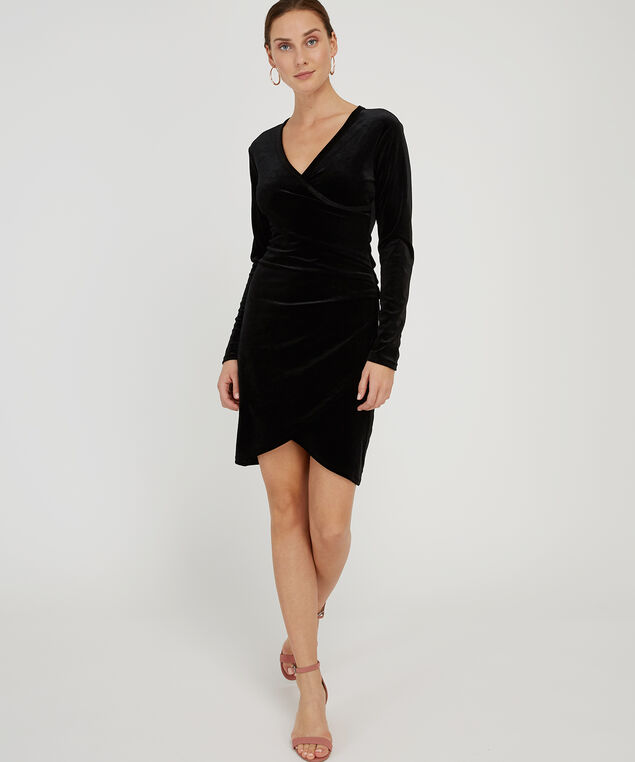 velvet wrap dress - wb, BLACK, hi-res