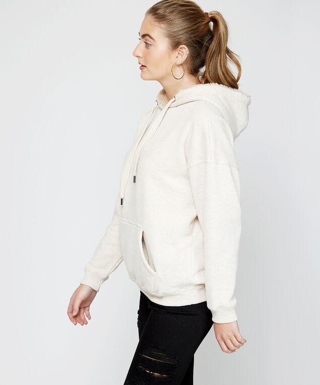 fur lined hoodie - wb, Natural