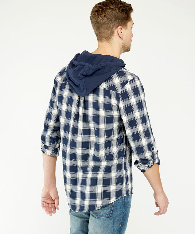 hooded shirt, Navy