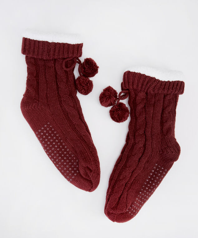 chunky cable knit slipper socks, BURGUNDY, hi-res
