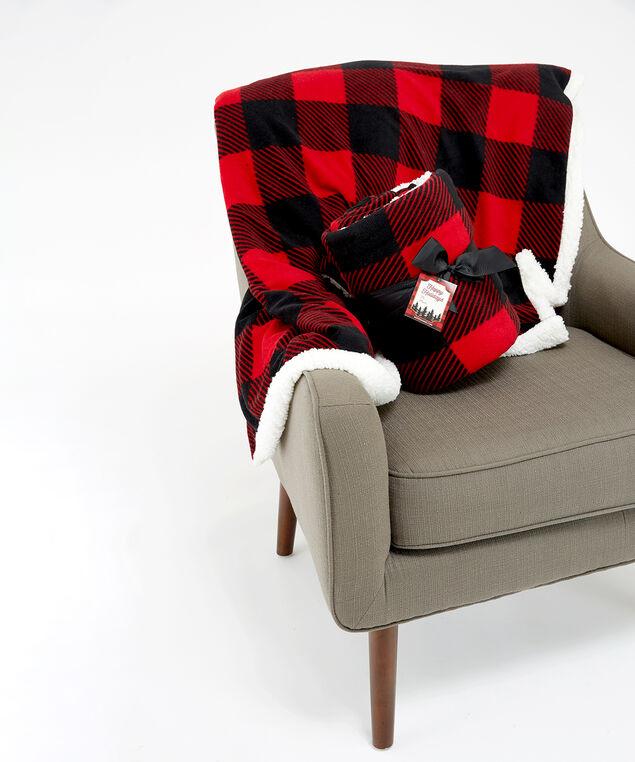 buffalo check sherpa blanket, Red Print, hi-res