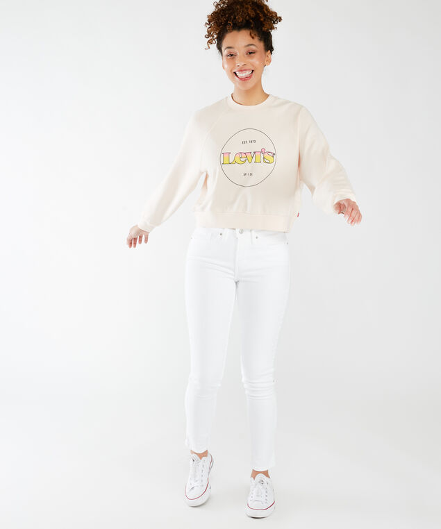vintage raglan circle logo sweatshirt - wb, Scallop Shell