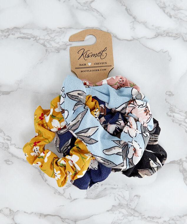 5 pack of floral hair scrunchies, MULTI, hi-res