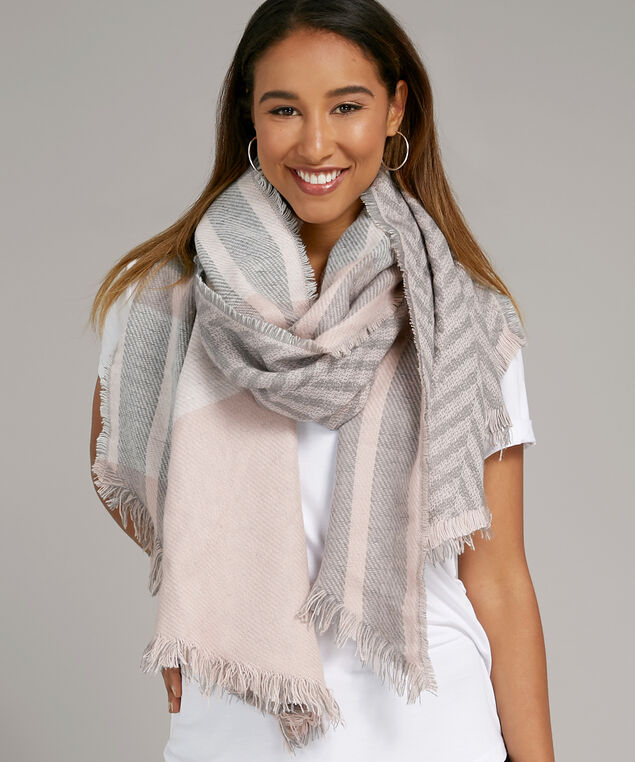 multi pattern blanket scarf, PINK COMBO, hi-res