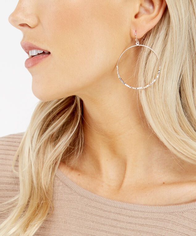 rose gold beaded hoops, ROSE, hi-res