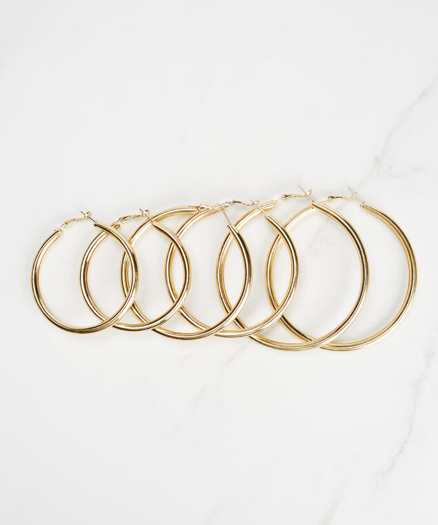 3 pack hoop earring set, Gold
