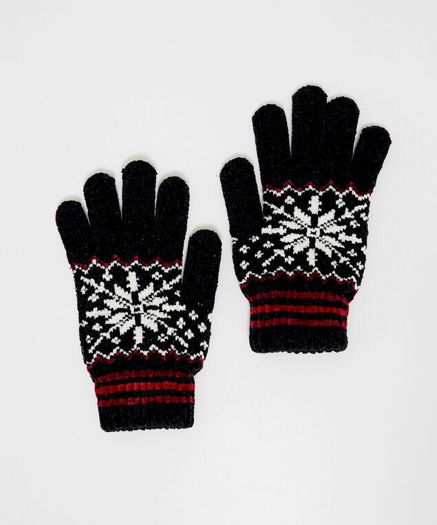 snowflake chenille gloves, Black Print, hi-res
