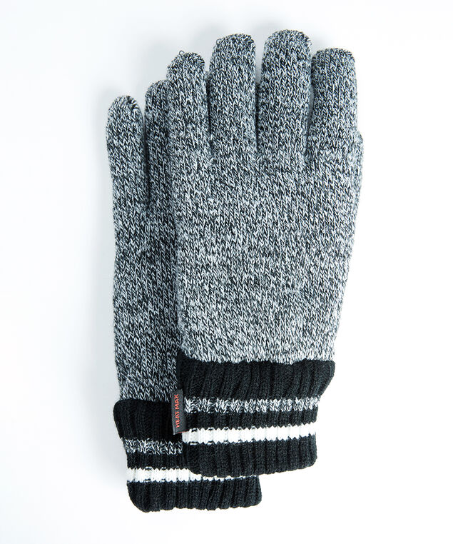 men's thermal knit gloves, Grey/Black