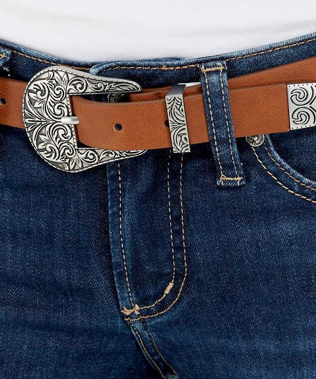 two tone skinny belt, BROWN, hi-res