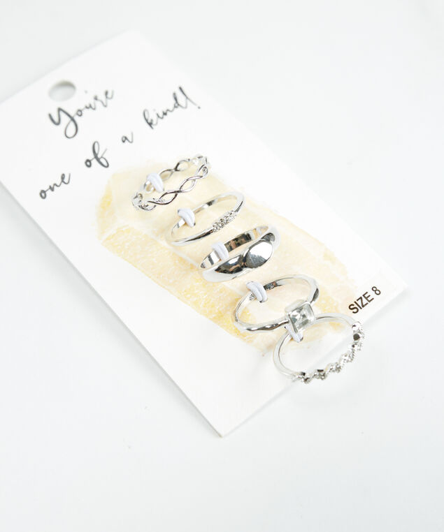 5 pack rings silver, Silver