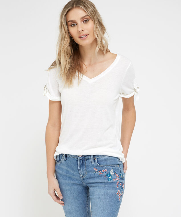 v-neck tee - wb, WHITE, hi-res