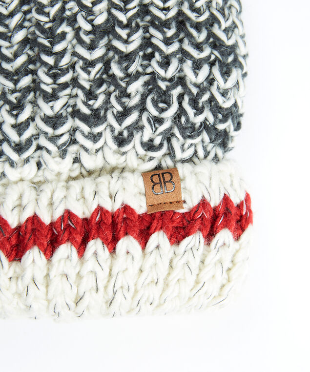 women's knit cabin toque, Grey/Red