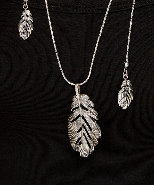 lariat feather necklace, SILVER, hi-res