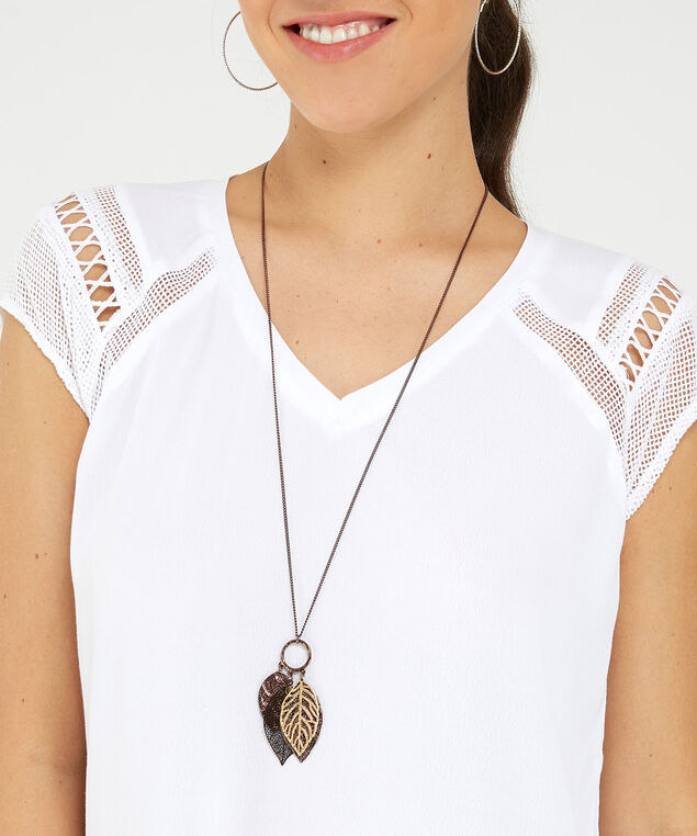 long multi leaf necklace, bronze, hi-res