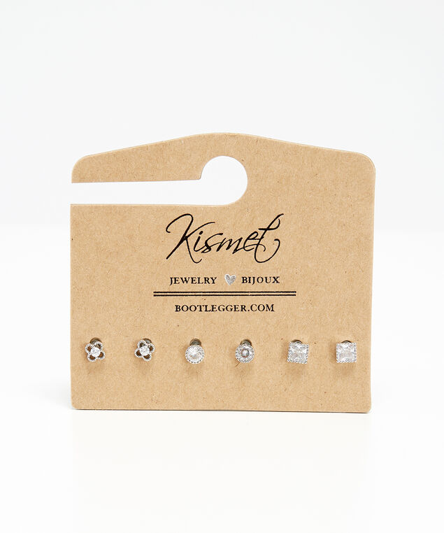 3 pack diamante earrings, SILVER, hi-res