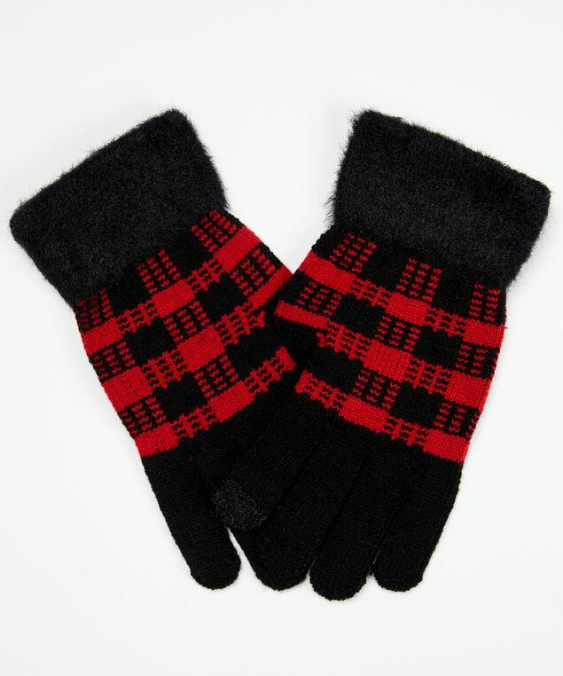 buffalo plaid gloves, Red Plaid, hi-res