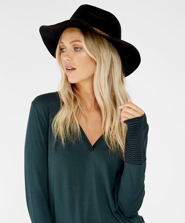 black felt hat, Black, hi-res