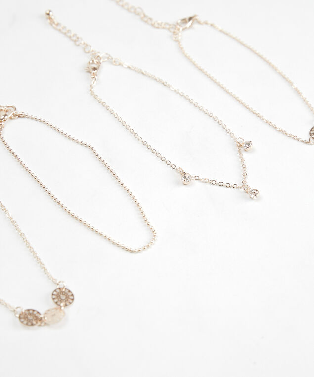 chain and charm anklets, Rose Gold