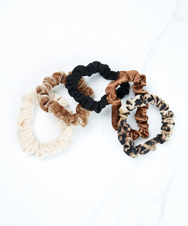 5 pack of scrunchies, Neutral, hi-res
