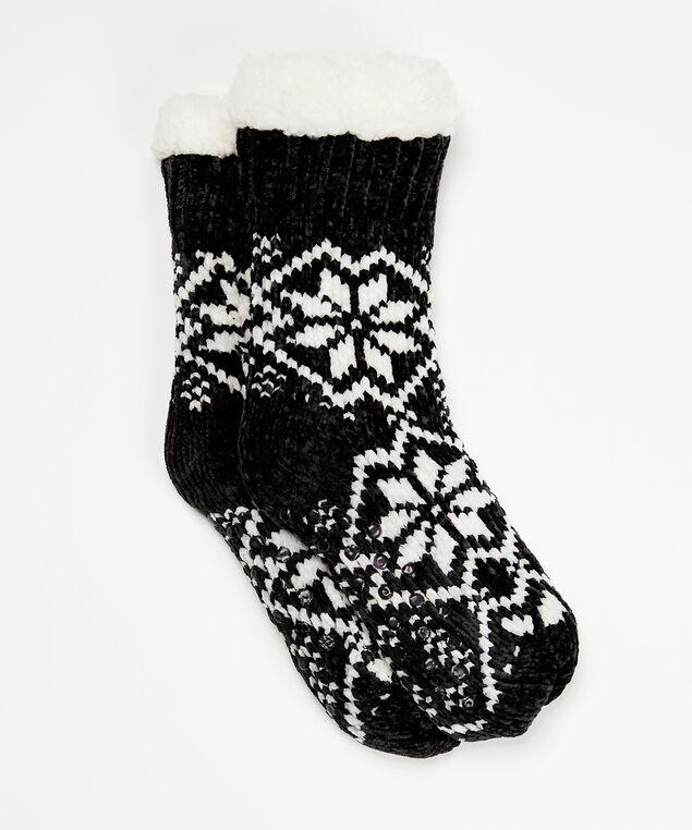 chenille slipper sock, Black, hi-res