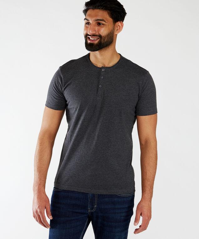 short sleeve henley tee, Dark Charcoal