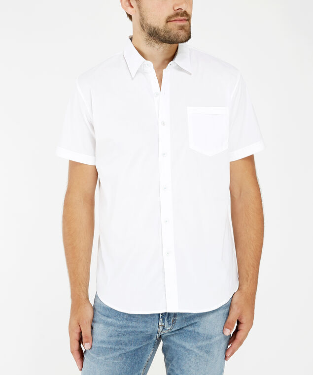 stretch button down shirt, WHITE, hi-res