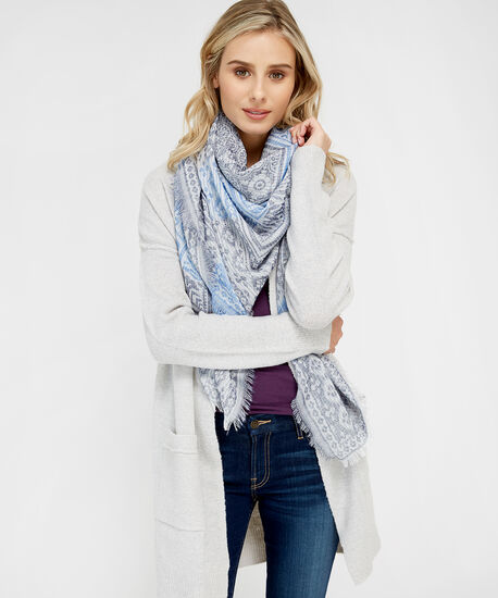 square jacquard scarf, BLUE, hi-res