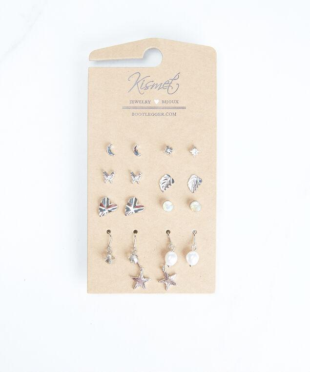 multi pack earrings, Silver