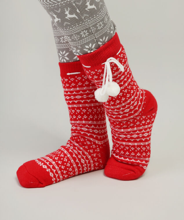 cable knit slipper sock hol17, RED DOT, hi-res