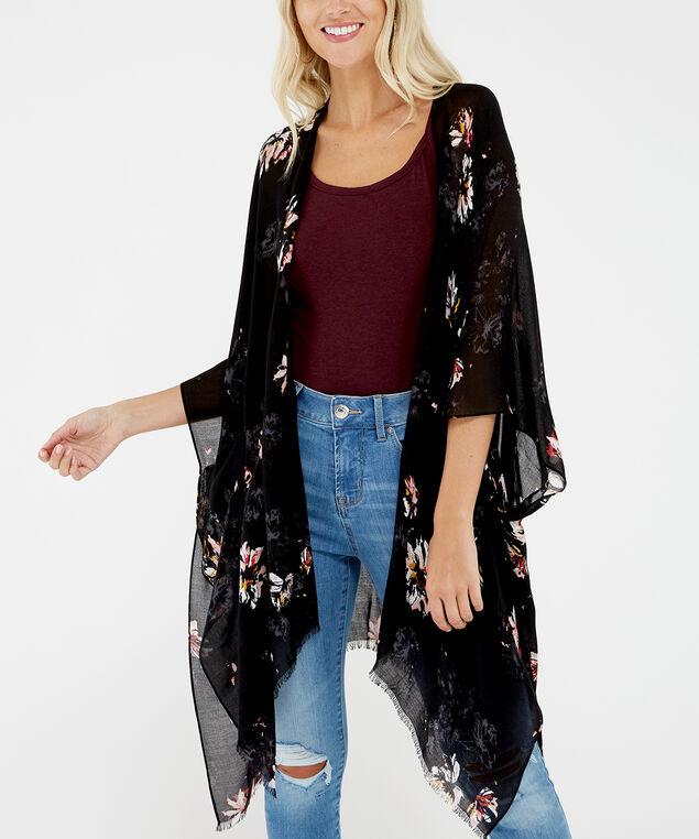 dark floral kimono, Black, hi-res