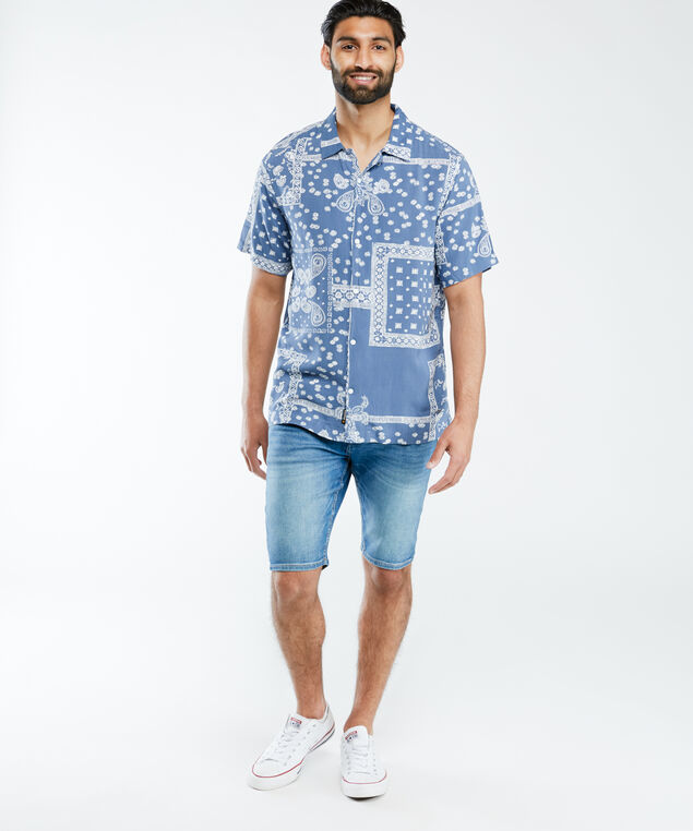 short sleeve button front shirt, Blue White Pt