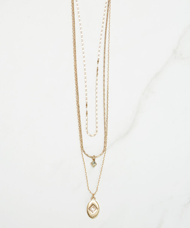 3 layer necklace, Gold, hi-res