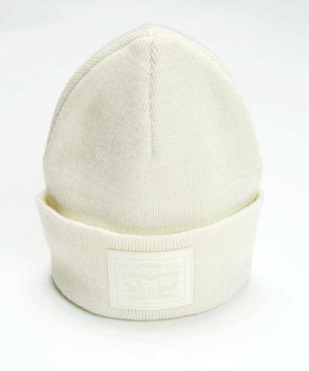 unisex two horse pull patch beanie, Ivory