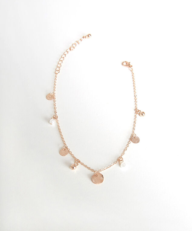 disc and pearl anklet, Gold, hi-res