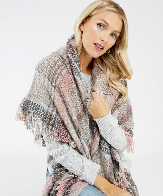 oversized boucle plaid blanket scarf, Plaid, hi-res