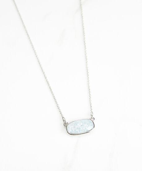 small stone pendant necklace, Silver, hi-res