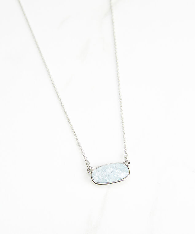 small stone pendant necklace, Silver, hi-res